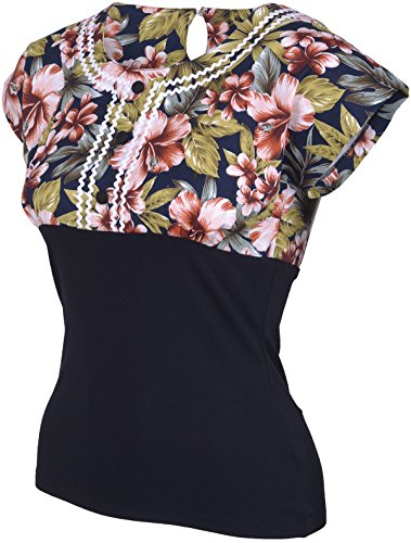 Küstenluder AUDRIA Tiki Hibiscus Palms Tropical Vintage Bluse Shirt Rockabilly Schwarz mit Einsatz