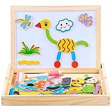 Cara Doble de Madera onecreation Writing Drawing Board Pizarra magnética de blanco y negro Puzzle Juguetes educativos para niños Para Niños Niñas over 3-year-old