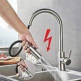 BONADE Niederdruckarmatur Küchenarmatur mit ausziehbarem Auslauf, 360° Schwenkbereich, für offene drucklose Warmwasserbereiter, 304 Edelstahl Einhebel-Küchenmischer, 3 Schläuche, für Küche