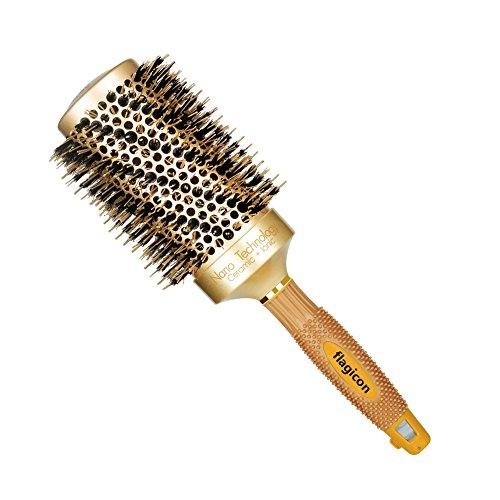 Spazzole per capelli barile in ceramica termica nano con setole di cinghiali naturali per asciugare il soffio, stilo, aumenta il volume dei capelli e brilla 1.8 pollici