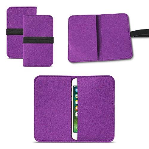 UC-Express Universal Smartphone Cover Tasche Handytasche Case Hülle Schutzhülle Sleeve Filztasche mit Kartenfach, Farbe:Lila, Smartphone:Allview P5 Lite