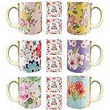YaYa Cafe Diwali Gifts Classy Floral Flower Handmade Ceramic Coffee Mug Set Of 6 With Coaster (325 Ml)