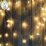 Buluri Star String Lichter 50 LED Sterne Lichterketten Arm Weiße Sterne Lichterkette für Weihnachten Halloween Party Home Schlafzimmer Dekoration