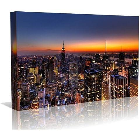 New York all'imbrunire, stampa artistica su tela da parete con stampa artistica, Contempoary Art Gallery Wrapped con cornice pronta da appendere (16