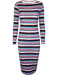 41124f57551914 Oops Outlet Damen Kleid Promi Stil Blumen Schlange Zebra Aufdruck  Mehrfarbig Körperbetont Knielänge - S/