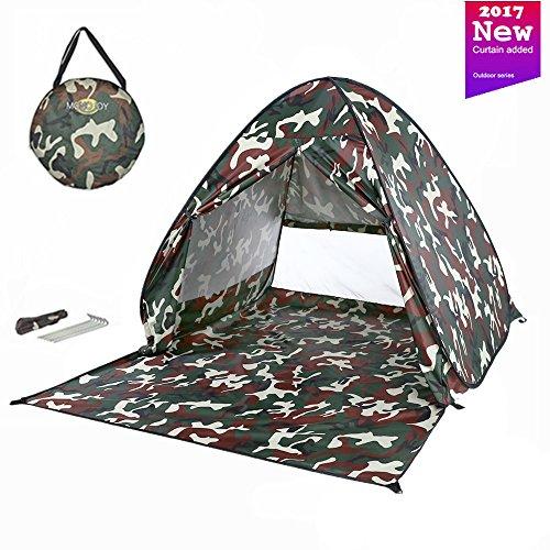 Upf Camo (MONOJOY Strandmuscheln Wurfzelte Sonnenschutz Pop Up Zelte UPF 50+ Für Outdoor Camping Leicht Strand Angeln Picknick Kinder Baby … (Tarnung mit tür))