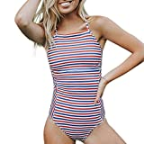 Luckycat Traje De Baño Bikini-Mujer Push-up Acolchado Bra Bikini Verano Trajes de baño Rayas una Pieza Bikini Playa
