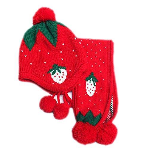 Hunpta Baby Mütze Schal jungen Mädchen Kleinkinder Erdbeer Schal Kind Schal Mützen Caps (Rot) (Erdbeer Kleinkind Mädchen)