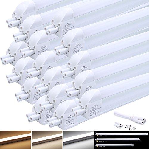 16 Stü LED Leuchtstofflampe komplett Set, Auralum T5 G5 120CM lang 16W 1550LM recycelbare Röhre Leuchtstoffröhre mit Fassung, für Tandem-Betrieb geeignet, Energiesparlampe in tageslichtweiß (4000-4500K), 96* SMD 2835, Material aus Aluminium und PC