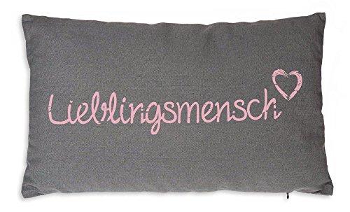 Lieblingsmensch Kissen Bezug 30x50 cm Baumwolle Kissenhülle Baumwolle Dekokissen Grau dunkel mit Rosa