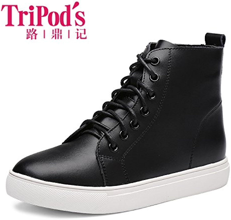 Aemember Otoño Invierno zapatos de mujer botas de mujer Plus estudiante de algodón con una base plana y versátil...