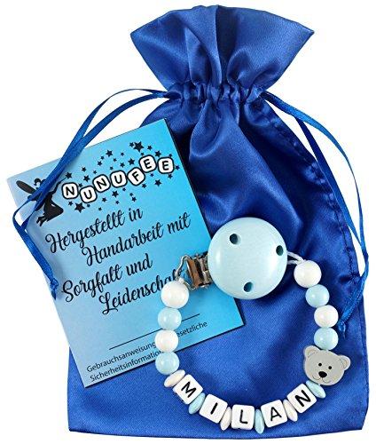 Personalisierte Schnullerkette mit Namen aus Holz für Jungen in Blau | verschiedene Designs verfügbar| perfektes Baby-Geschenk zur Geburt und Taufe (Design3)