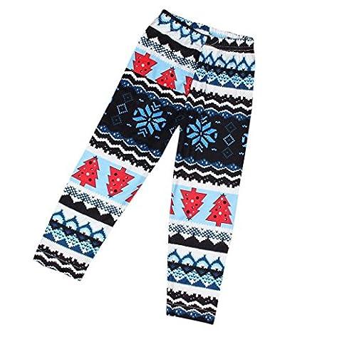 Ouneed® Junge Mädchen Kinderkleidung Babybekleidung , Kinder Mädchen Weihnachten Schneeflocke Rentier Leggings Skinny Bleistift Hosen Hosen (7-9T, A)