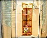 GRY Multi Funktions-Eckregal-solides Holz-Lagerregal, Badezimmer-Wohnzimmer-Lagerregal,Fünf Schichten