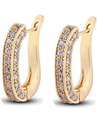 YAZILIND Charming Smooth Gold Plated U Style Inlay Round Clear Cubic Zirconia Stud Earrings for Women