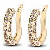 YAZILIND Schmuck Charming Glatte 18 Gold Glänzend U Style Inlay Runde Clear Crystal Ohrstecker für Frauen