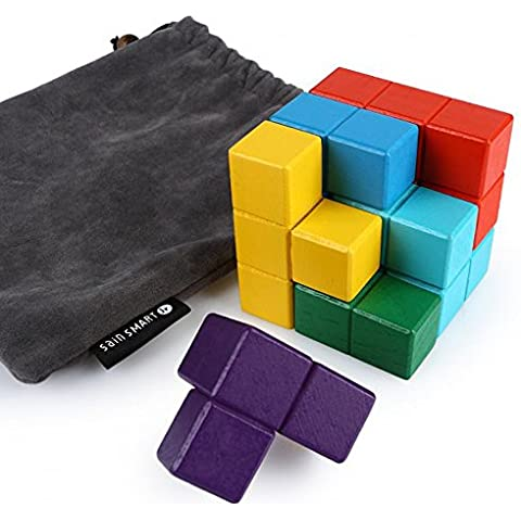 SainSmart Jr. 7 de la chispa del color de los ladrillos de madera Soma Tetris Cubo, Ven con bolsa de transporte, Juguete para fomentar S.T.E.M.