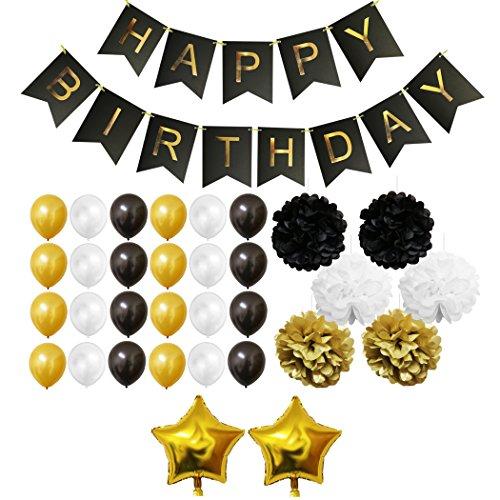 -Set - Gold, Schwarz und Weiß - Pom-Poms, Happy Birthday Banner, Latexballons & Folienballons von Belle Vous - für Geburtstag, Kinder-Partys, Baby-Partys, Abschlussfeiern und Hochzeitsfeiern - Großpackung Dekorationen Zubehör für Mädchen, Jungen & Erwachsene (Camo Dekorationen)