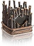 CHICCIE Teelichthalter aus Ästen und mit Herzfenster - 16cm x 15cm - Kerzenhalter Natur Vintage