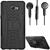 DMG Protective Heavy Duty Dual Layer Kickstand Back Cover Case For Samsung Galaxy C9 Pro (Black) + Black Stereo Earphone With Mic And Volume Control