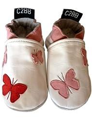 C2BB - Chaussons bébé cuir souple fille   Papillons rouge rose