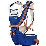 Tragetuch Multifunktionssitz Ergonomischer Babyrucksack 0-36 Monate Vier Jahreszeiten Artefakt mit Sonnenschutz Windundurchlässige Kappe,Darkblue