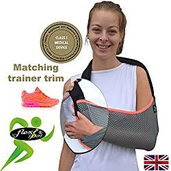 4Dflexisport Arm Support, Shoulder Sling Coral Trim One-Size, Big Enough For The Largest Arm, Reduces For Youngsters. Luxuriously Soft-Stretch, Light Airflow, Contours Arm. Reversible L/R Fit. Unisex.