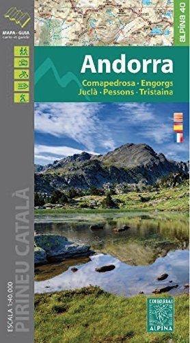 Andorra. Comapedrosa, Engorgs, Juclà, Pessons, Tristaina. Mapa excursionsita. Escala 1:40.000. Editorial Alpina. por VV.AA.