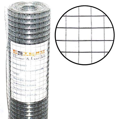 Volierendraht 1m x 10m / Maschung: 16x16 mm, Drahtgitter 4-Eck Maschendraht Schweißgitter Zaun