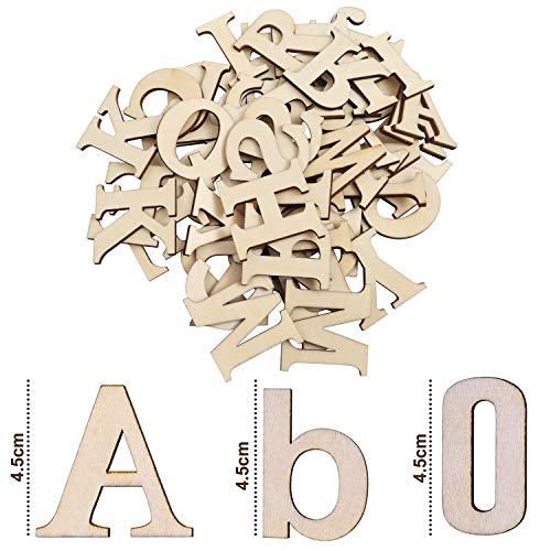 Wooden Letters & Wooden Numbers (124 Pcs) - Set of (A-Z) Capital Letters and Lowercase Letters (52 Each) with 20 Wooden Numbers (0-9) - Art Craft DIY Wedding Party Wooden House Display Decorations