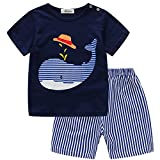 Blaward Camisa Shark de manga corta para bebés con pantalón corto a rayas