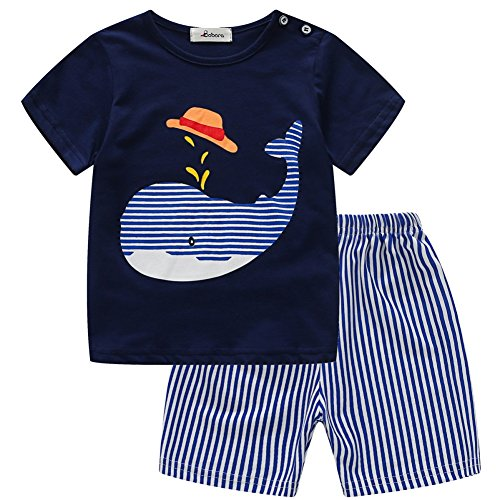 6fb660655c9d BOBORA Baby Boy Kids Summer Clothes Set Cartoon Whale Short Sleeved Tops  With Elastic Striped Short Pants