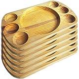 Artema - Plato de Madera con Porta Salsas - 30*20 cm - Set de 6
