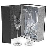 Set/Estuche de 2 copas de cristal para champán, cava o espumosos, talladas a mano, colección 'CELEBRATION'.