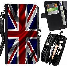 FJCases UK Reino Unido Bandera Británica Bandera del Reino Unido Carcasa Funda Monedero Con Correa y Cremallera Carcasa Funda para Huawei Nexus 6P