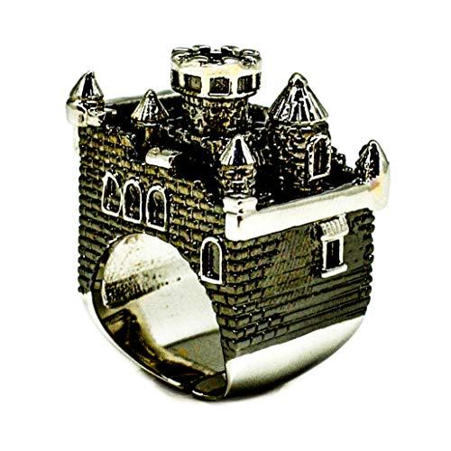 London Spa (Black Ruthenium Castle Ring by MONVATOO London, ein freistehender (verstellbarer Band) Schloss Ringschmuck mit schwarzem Ruthenium und 18 Karat vergoldet)