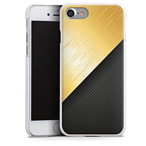 Apple iPhone X Silikon Hülle Case Schutzhülle Metall Look Schwarz Gold Hard Case weiß