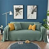 FONKIC Wolle Einteiliger Sofabezug Sofa-Überwürfe Sofa Handtuch Decke Sofaabdeckung Stilvoll Persönlichkeit Anti-Rutsch MöBelschutz,Green,170 * 350cm