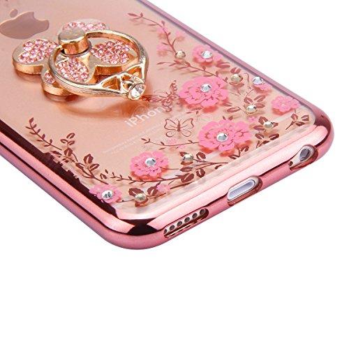 Custodia iPhone 6S plus Cover iPhone 6 plus,Ukayfe Ultra Slim Custodia Cover Resistenti per iPhone 6/6S plus, TPU Gel Gomma Silicone Protettivo Skin Custodia Protettiva Shell Case Cover per iPhone 6/6 Oro rosa-Fiore rosa con Trifoglio supporto