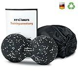 Fitcarrots Duoball 12 cm - Twinball für Faszientraining, Selbstmassage, Triggerpunkttherapie von Nacken, Rücken, Armen und Waden von Experten Empfohlen inkl. Startguide - Schwarz