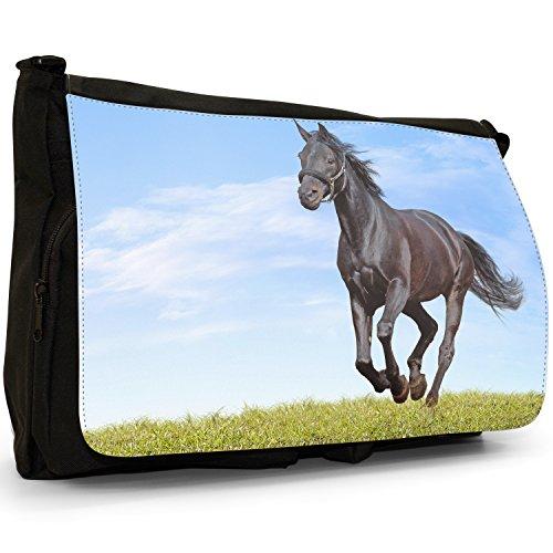 Cavallo Stallion , colore: nero, resistente, colore: nero, Borsa Messenger-Borsa a tracolla in tela, borsa per Laptop, scuola Black Horse Runs Green Grass