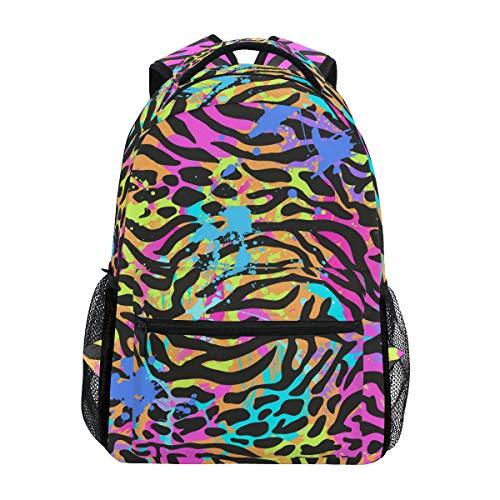 Jeansame Rucksack Schultasche Laptop Reisetasche für Kinder Jungen Mädchen Damen Herren Leopard gestreift Skin Textur Vintage Hippie Regenbogen