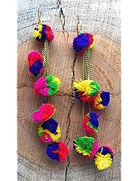 Satyam Kraft Pom Pom Earrings For Women Dangle & Drop Funky Multicolour Ear Rings/diwali Gift/birthday Gift/garba...