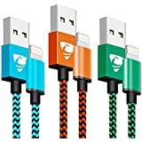 Xuduo Chargeur iPhone 1M [Lot de 3] Charge Rapide Câble iPhone Nylon Tressé pour iPhone X/ 8/8 Plus /7/7 Plus /6/6 Plus (Bleu, Orange, Vert)