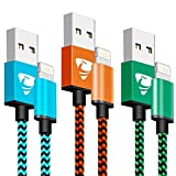 Phone Charger Cable Xuduo [3Pack 1M] Nylon Braided Fast Charging Cable Compatible with iPhone 6/X/8/8 Plus/7/7Plus/6s/5/5s/SE, iPad and More-blue,orange,green