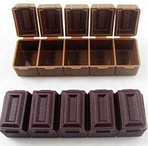 Boîte à Pilules Organisateur de Médicaments Boîte à Bijoux En Forme De Barre De Chocolat Cinq Compartiments