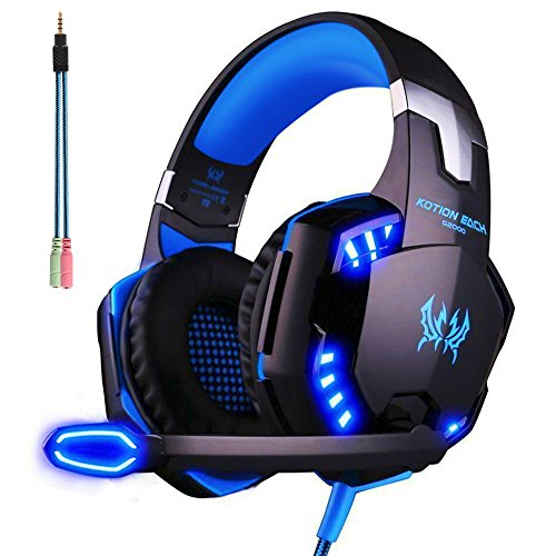 Cuffie pc gaming microfono arkartech cuffia da gioco gamer stereo led luce regolatore di volume per pc iphone smart phone laptop tablet ipad ipod mp3 mp4 mobilephones