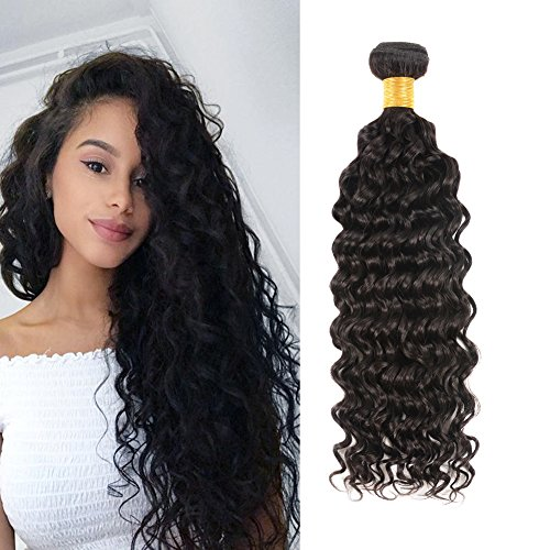 Curly Weave (Huarisi Deep Wave Hair Extension Brazilian Hair 1 Bundle Virgin Human Hair Deep Curly Double Weft Sew in Weave 14 Inch)