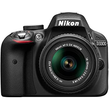 Nikon D3300 SLR-Digitalkamera Kit (24 Megapixel, 7,6 cm (3 Zoll) TFT-LCD-Display, Live View, Full-HD) inkl. AF-S DX 18-55 VR II Objektiv schwarz
