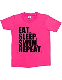 Fancy A Snuggle Eat. Sleep. Swim. Repeat. Swimming Pool Freestyle Kids Boys / Girls T-Shirt
